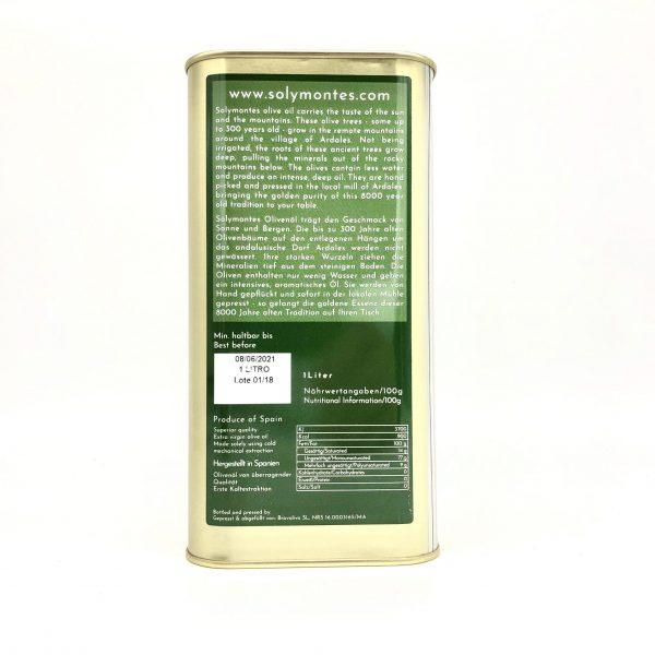 Solymontes Olivenöl Rückseite