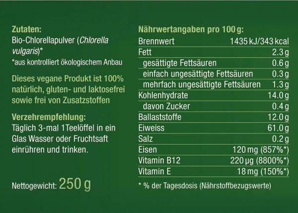 Bio Chlorella Algen Pulver Nährwerte